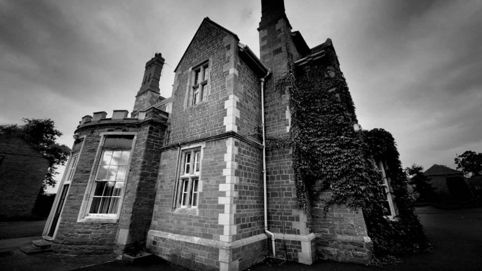 black and white image of brooksby hall